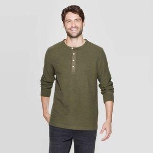 Goodfellow & Co Olive Green Textured Henley Shirt